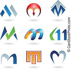 resumen, m, carta, iconos