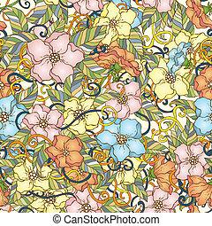 resumen, mano, fondo., vector, floral, dibujado