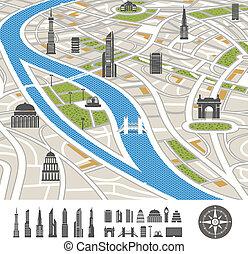 resumen, mapa ciudad, con, siluetas, de, casas