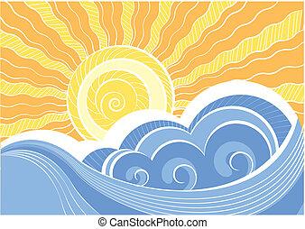 resumen, mar, waves., vector, ilustración, de, mar, paisaje