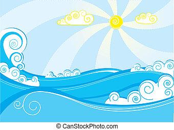 resumen, mar, waves., vector, ilustración, en, azul, blanco