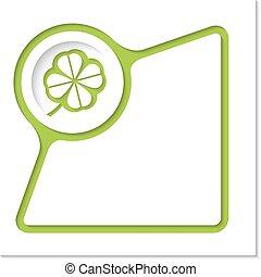 resumen, marco, con, interior, sombra, y, hoja de trébol