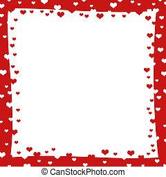 resumen, marco, con, rojo, corazones