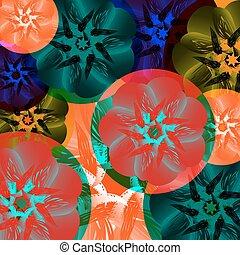 resumen, medalla, de, flowers., verano, colores, tucán, tropical, exótico, y, calor, en, un, verde, fondo.