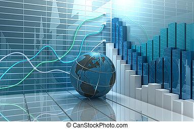 resumen, mercado, plano de fondo, acción