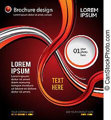 resumen, moderno, negro y rojo, folleto, fondo., diseño, disposición, template.