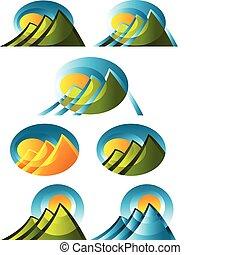 resumen, montaña, iconos