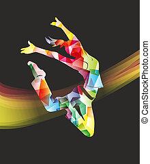 resumen, mujer, ilustración, colorido, saltar