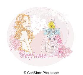 resumen, mujer, y, botella, de, perfume, con, un, floral, aroma