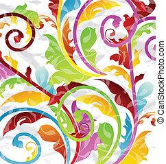 resumen, multicolor, floral, plano de fondo, diseñe elementos