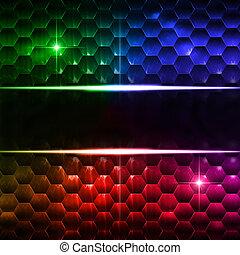 resumen, multicolor, hexágonos, plano de fondo, con, texto,...