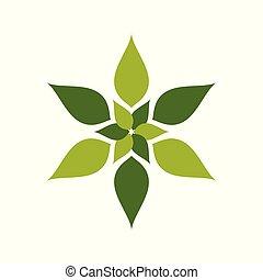 resumen, naturaleza, geométrico, verde, flor, símbolo, logotipo, diseño