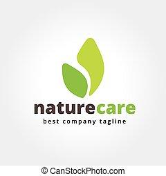 resumen, naturaleza, leafs, cuidado, vector, logotipo,...
