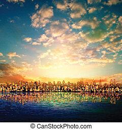 resumen, naturaleza, plano de fondo, con, panorama, de, ciudad, salida del sol