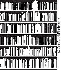resumen, negro, estante libros, vector, blanco