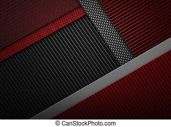 resumen, negro rojo, carbón, fibra, textured, material,...