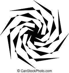 resumen, negro y blanco, spiral., radial, radiación de líneas, con, espiral, distortion., artístico, non-figural, illustration.