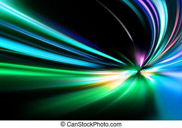 resumen, noche, aceleración, velocidad, movimiento