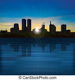 resumen, noche, plano de fondo, con, silueta, de, ciudad