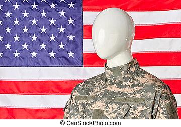 resumen, norteamericano, ejército, soldado, patriota, en, militar, uniform., bandera de los e.e.u.u, fondo.