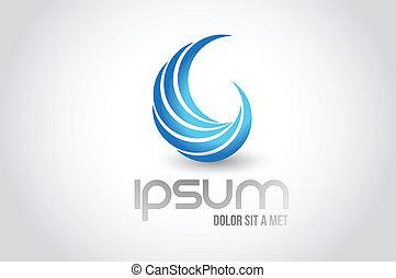 resumen, onda, logotipo, símbolo, ilustración, diseño