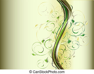 resumen, ondas, con, floral, ornamento