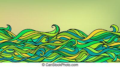 resumen, ondas, plano de fondo, vector