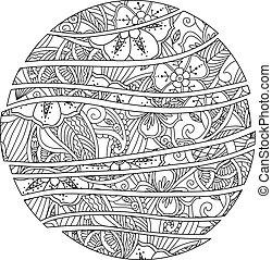 resumen, ornament., onda, mandala., mendie, círculo, flores, hojas