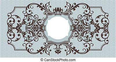 resumen, ornamental, marco