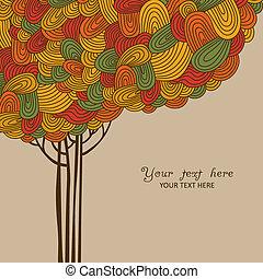 resumen, otoño, árbol, ilustración, m