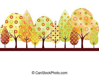 resumen, otoño, árbol, tarjeta de felicitación