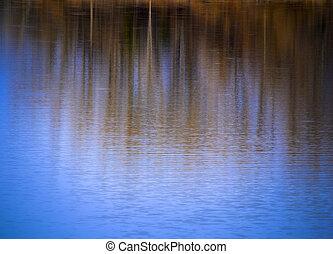 resumen, otoño, plano de fondo, agua, reflejar