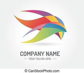 resumen, pájaro, vector, logotipo, plantilla, para,...