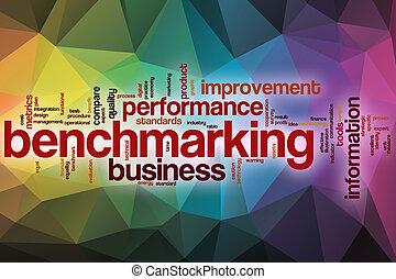 resumen, palabra, nube, plano de fondo, benchmarking