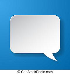 resumen, papel, burbuja del discurso, en, fondo azul