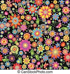 resumen, papel pintado, flores