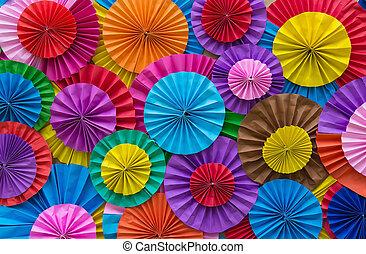 resumen, papel que dobla, plano de fondo, multicolor