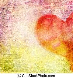 resumen, pared, ladrillo, pintura agrietada, y, heart.