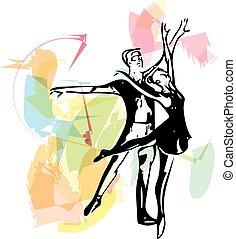 resumen, pareja, ballet, ilustración, bailando