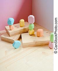 resumen, pastel, podio, colores, fondo., figuras, de madera...