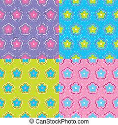 resumen, patrón floral, set., vector.