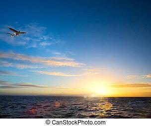 resumen, peaceful;, inspirado, hermoso, luz, mar, plano de fondo