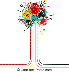 resumen, pelotas, tejido de punto, composición, hilo