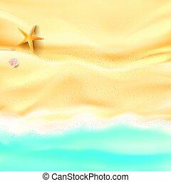 resumen, plano de fondo, arena, y, mar, playa, estrellas de...