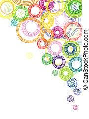 resumen, plano de fondo, con, coloreado, círculos