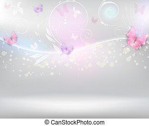 resumen, plano de fondo, con, florals, y, mariposas
