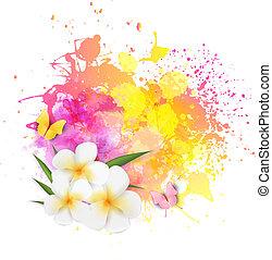 resumen, plano de fondo, con, flores, y, mariposas