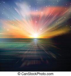 resumen, plano de fondo, con, mar, salida del sol