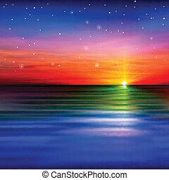 resumen, plano de fondo, con, nubes, y, mar, salida del sol