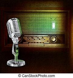 resumen, plano de fondo, con, retro, radio, y, micrófono